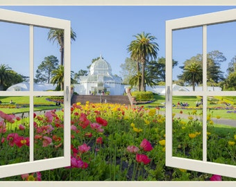 Wall mural window, self adhesive -California open window view-3 sizes available-Golden Gate Park Conservatory-free US shipping