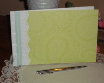 Guest Book Album - Green Paisley - Bridal Shower, Retirement, Graduation, Birthday