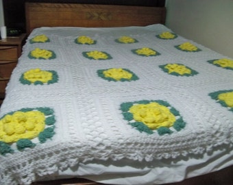 home made  vintage blanket pop up yellow flowers