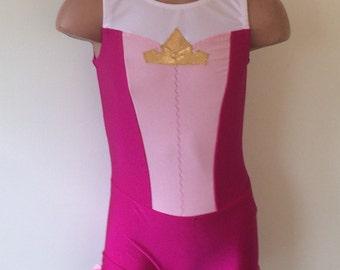 Sleeping Beauty Inspired Gymnastics Dance Biketard. Performance Costume. Dancewear. Size 2T - Girls 12