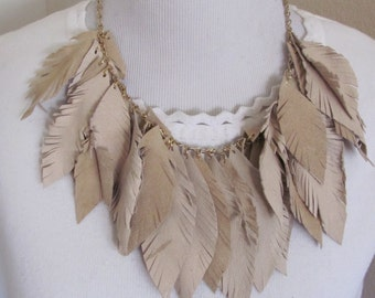 Beautiful Beige Super Soft Suede Leather Feather Style Bib Necklace (41C)