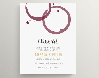red wine spot engagement party invitation set // bridal shower // wine tasting // wine party // wine and cheese party // wine // vino
