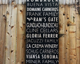 Custom Winery Signs - 24x48 - salvaged wood - bus roll style - RuPiper Designs Original and Exclusive Design