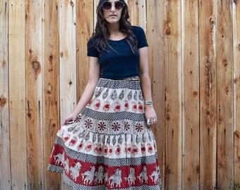 Vintage 70s Block Print INDIAN COTTON High Waist Skirt XS