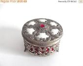 50% OFF Sale Beautiful Vintage Silvertone Ruby Hollywood Regency Victorian 50s 60s Jewelry Trinket Box Casket