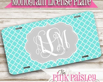 Monogram License Plate | Custom License Plate | Personalized Car Tag