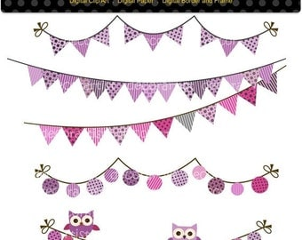 ON SALE Digital clip art for all use,Flag banner bunting and owl 4, purple and gray, bunting clip art,INSTANT Download , purple bunting