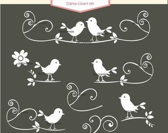 ON SALE white birds clipart,black birds clipart,Clip art bird, silhouette clipart,Silhouette black and white Belgravia bird collection
