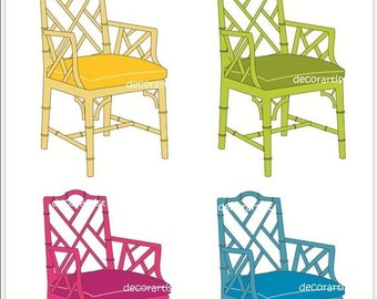 ON SALE Digital clipart chair, furniture Chippendale chair 2, INSTANT Download