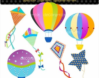 ON SALE hot air balloon clip art , Digital clip art, Hot air balloons and kites,kites clip art, summer clip art, INSTANT Download