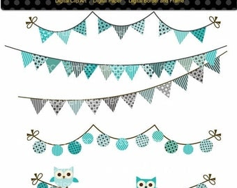 ON SALE Digital clipart, flag banner, bunting clipart, bunting and owl 2, flag banner, bunting , blue and grey bunting