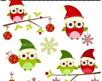 ON SALE Digital clip art owls,Christmas owls with mistletoe 2