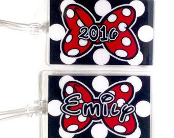 DISNEY Luggage Tags - Personalized MINNIE MOUSE  Laminated 10mil You pick Style an Number you want
