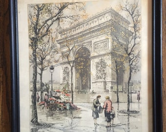 Hans Figura etching on silk of Arc de Triomphe