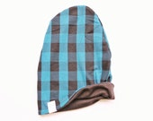 Beanie- Reversible Blue and Black Buffalo Plaid With Black Slouchy Beanie
