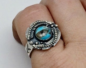 Sterling Silver Turquoise Ring, Blue Gemstone Ring, Blue Feather Ring, Southwestern Bohemian Jewelry for Women, Bohemian Jewelry