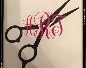 Vinyl Car Decals - Monogrammed Hairdresser Decal