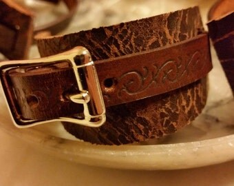 Rustic cuff wristband made out of Italian designer leather available in various sizes larp hipster rugged industrial steampunk post apo sale