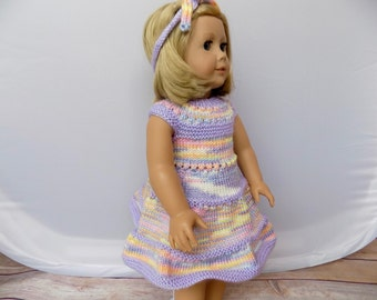 Knit Doll Clothes, 18 Inch Doll Dress, Rainbow Doll Outfit, Girl Doll Clothes