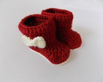 Baby Booties, Red Baby Boots, Baby Girl Shoes, Christmas Booties