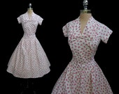 Vintage 1950s French Novelty Bows Cotton Full Skirt Cocktail Party Dress XS