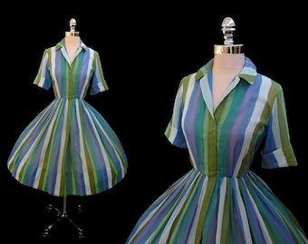 Vintage 1950s Striped Cotton Voile Shirtwaist Full Skirt Dress XS