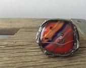 Fused glass boho ring-SALE