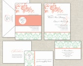 Peach and Mint Wedding Invitation Set with Damask, Custom Monogram and Belly Band