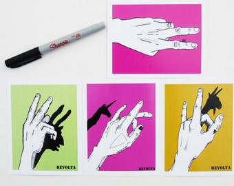 Hand Shadow Puppets - Set of 4 Postcards / Color Illustration