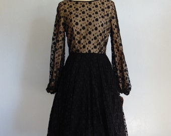 60s polka dot black illusion COCKTAIL DRESS by Harou size medium NWT