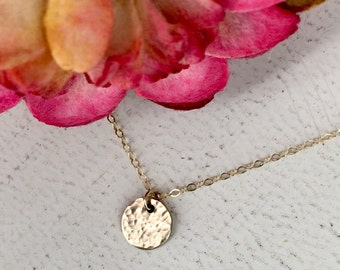 Hammered small disc necklace - Layering necklace - Sterling Silver or Gold-filled option - Simple necklace - Smooth option WM104