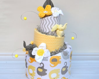 Yellow and Gray Baby Shower- Baby Shower Gift -Yellow and Gray Elephant Diaper Cake - New Baby Gift - Elephant Baby Shower Centerpiece