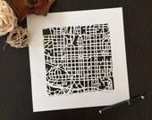 Raleigh or Durham hand cut map. Georgetown, Wilmington, or Folly beach, 10x10