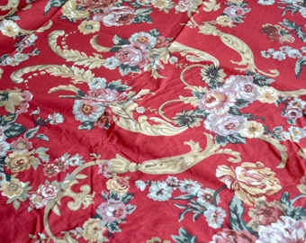 Ralph Lauren Bed Sheet - Red Marseilles Pink Roses - Twin Fitted