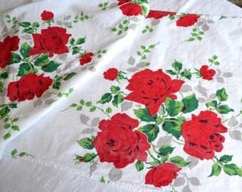 Vintage Wilendur Red Rose Table Runner - 18 x 52