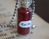 ON SALE Alice in Wonderland Eat Me Vial Necklace