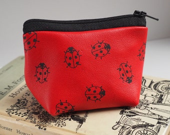 Red ladybirds small leather coin purse, ladybug purse, small purse, leather purse, leather pouch, ladybirds, coin purse, leather coin purse