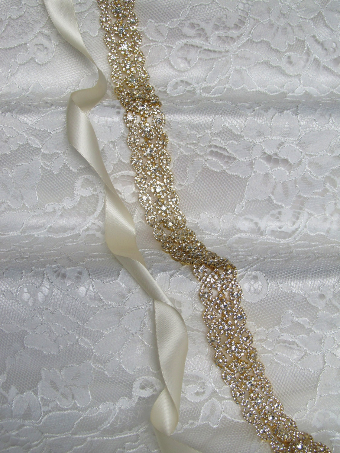 Gold Crystal Rhinestone Bridal Sash,Wedding sash,Bridal Accessories,Bridal Belt and sashes,Ribbon Sash,Style #51