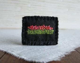 Pink Garden Textile Art Brooch