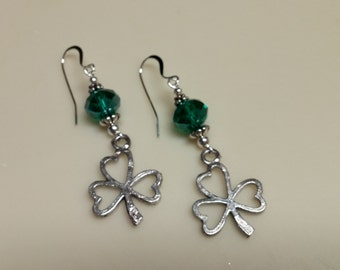 Irish Shamrock and green crystal earrings