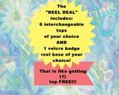 Reel Deal 6 Interchangeable badge tops and 1 badge reel base
