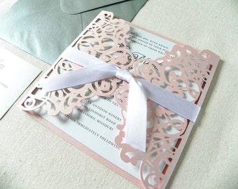 Pink Glitter Lace Wedding Invitation Suite for Vintage Wedding - Laser Cut Pocket Fold, Insert Card, RSVP Card, and Envelopes