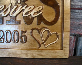wedding gift Family Last Name Sign Personalized CARVED Custom Wooden Signs Rustic  Heart Wedding Gift  Established Anniversary custom