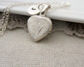 Silver Heart Locket, Heart Necklace, Sterling Silver Locket, Vintage Jewelry, Small Locket, Personalized Locket, Silver Initial Necklace