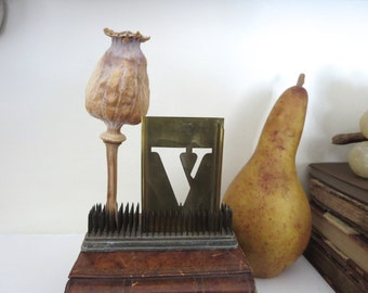 """1 vintage brass V stencil, letter V, capital V, 3 inch stencil, 3"""" stencil V old stencil, metal V stencil, old, rustic, primitive, antique"""