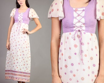 vintage PRAIRIE floral DIRNDL purple hippie victorian renaissance maxi dress 1970s 70s extra small XS