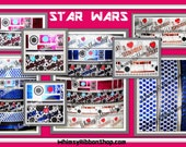 New 1,2,3,4,5 yards 7/8 Star Wars inspired #3 PINK & COPPER FOIL ink Grosgrain Ribbon bows black robots chewy bb8 Chewbacca usdr R2kt Droid
