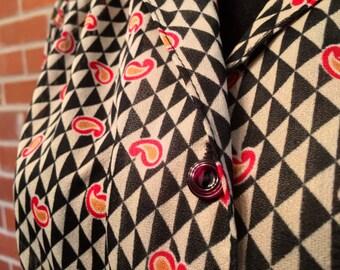 Paisley op-art blouse vintage new wave