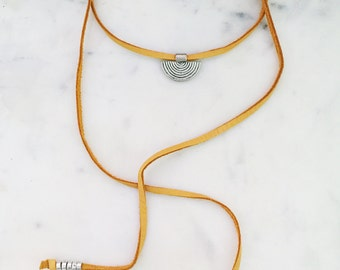 Leather bolo, leather choker, leather lariat,  natural leather, disc wrap necklace