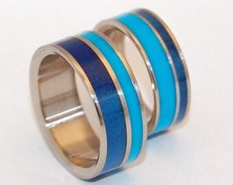 Wooden Wedding Rings, titanium ring, titanium wedding sets, matching band, something blue, mens ring, womens rings, blue ring, - BLUE LAGOON